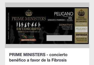 Concierto Prime Ministers 2 de Febrero en Sala Pelícano ( La Coruña )